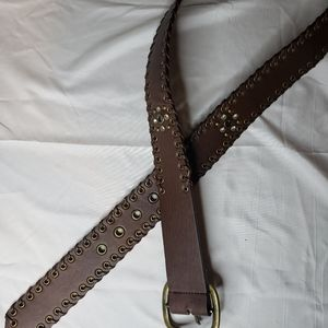 Brown belt with rivets and stone accents 44 inches